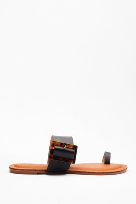 Nasty Gal Womens Tort About It Buckle Flat Sandals - Black