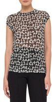 Akris Ai-Print Cap-Sleeve Blouse, Black/Cremello