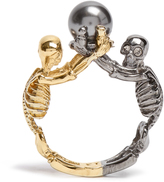 Alexander McQueen Double-skeleton ring