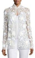 Naeem Khan Sequined Mesh Evening Jacket, White