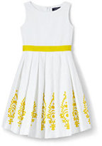 Lands' End Girls Plus Broderie Anglaise Woven Dress-White