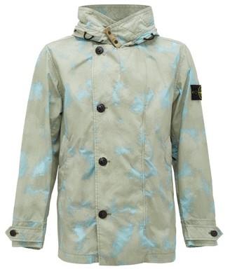 Stone Island Camouflage-print Tela Placcata Hooded Jacket - Mens - Grey