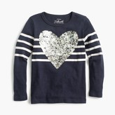 J.Crew Girls' striped sequin heart T-shirt