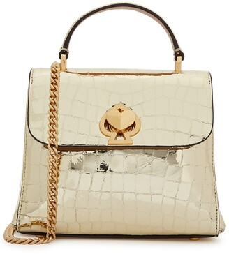 Kate Spade Romy mini gold leather top handle bag