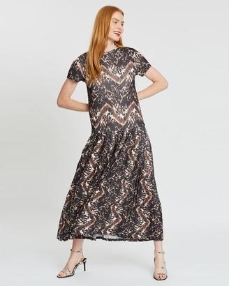 Topshop Printed Pleated Mesh Midi Dress