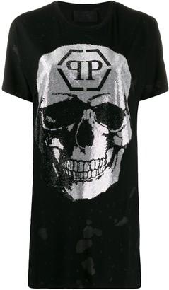 Philipp Plein destroyed skull T-shirt