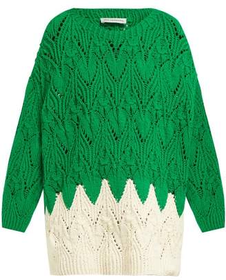 Vika Gazinskaya Hand Knitted Oversized Cotton Blend Sweater - Womens - Green Multi