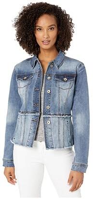 Tribal Two-Tone Jean Jacket w/ Cutoffs Hem (Blue Dusk) Women's Clothing