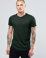 Religion Curved Hem T-shirt With Cross Over Neck Detail