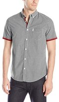 Ben Sherman Men's Short-Sleeve Button-Down Shirt with Contrast Cuff