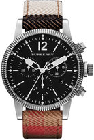 Burberry Watch, Swiss Chronograph House Check Leather Strap 42mm BU7815