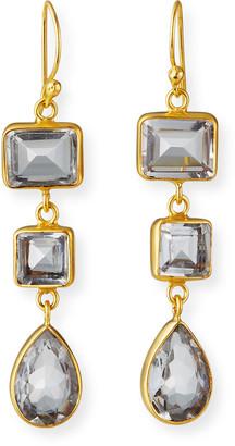 Dina Mackney Clear Quartz 3-Drop Earrings