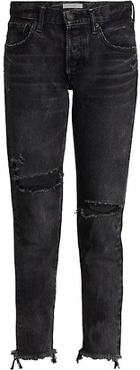 Moussy Bettie Mid-Rise Distressed Tapered Jeans