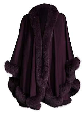 Sofia Cashmere Women's Dyed Fox Fur-Trim Cashmere Wrap