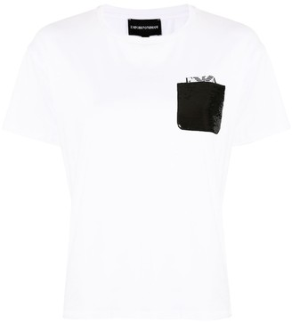 Emporio Armani glitter pocket T-shirt