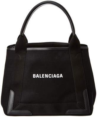Balenciaga Navy Cabas Small Canvas & Leather Tote
