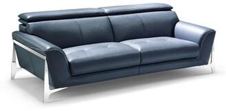 Orren Ellis Binghampton Leather Sofa Orren Ellis Upholstery Color: Gray