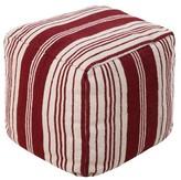 """Surya Burgundy Teilo Stripe Pouf (18""""X18""""X18"""")"""