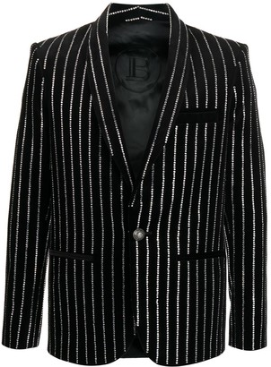Balmain Rhinestone-Embellished Single-Breasted Blazer