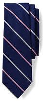 Lands' End Men's Long Silk Extra Wide Stripe Necktie-Deep Sea/Blue Grass
