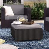 Bronx Halloran Outdoor Ottoman with Sunbrella Cushions Ivy Fabric: Graphite Grey