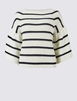 Marks and Spencer Cotton Rich Striped Flared Sleeve Jumper