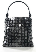 Giorgio Armani Black Velvet Handle Beaded Line Tote Handbag