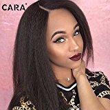 Cara Italian Yaki African American Wig Glueless Brazilian Virgin Remy Human Hair Kinky Straight Lace Front Wigs for Black Women (16inch)