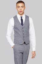 Moss Bros Skinny Fit Grey Textured Waistcoat