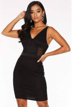 Quiz Petite Black Lace Ruched Bodycon Dress