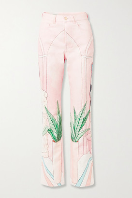 Casablanca Chambre 602 Printed High-rise Straight-leg Jeans - Pastel pink