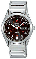 Seiko Men's Stainless Steel Black Dial Expansion Band Watch