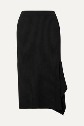Max Mara Fano Draped Asymmetric Ribbed-knit Midi Skirt - Black