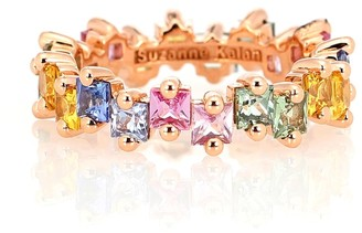 Suzanne Kalan Pastel Fireworks 18kt rose-gold ring with sapphires