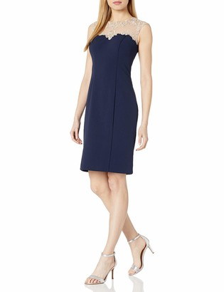 Alex Evenings Women's Short Shift Dress with Embroidered Bodice and Illusion Back
