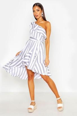 boohoo Textured Stripe Ruffle Hem Midi Dress