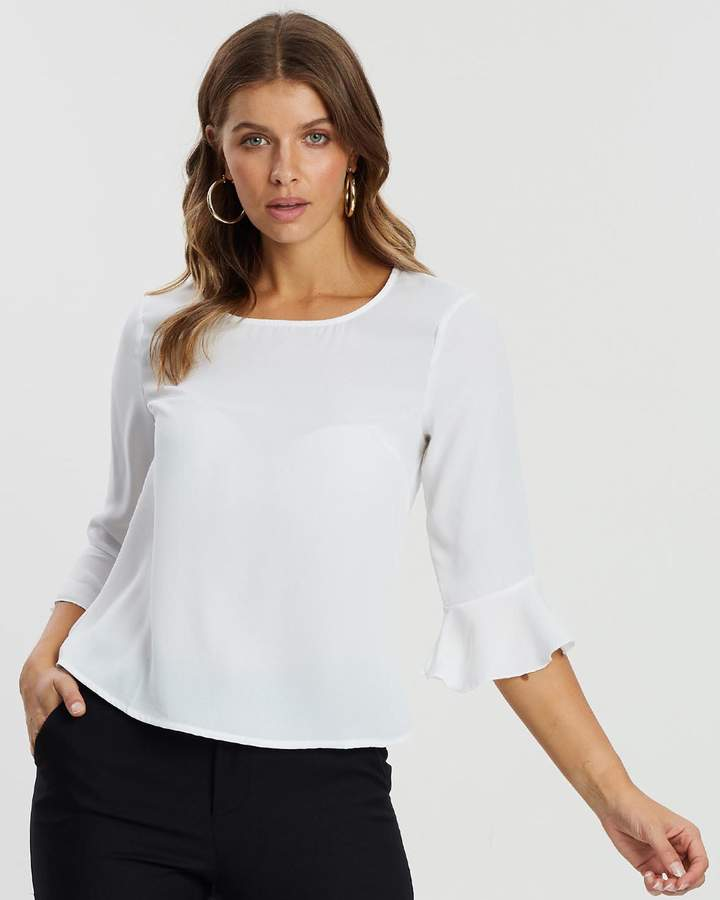 Atmos & Here Esma Ruffle Sleeve Top