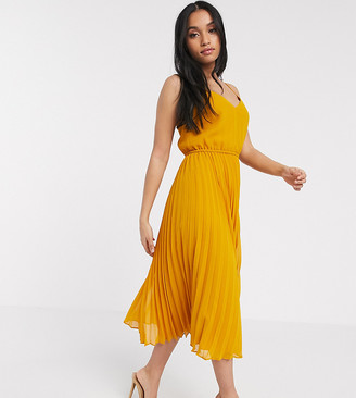 ASOS DESIGN Petite pleated cami midi dress with drawstring waist in mustard