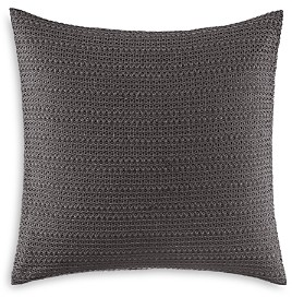 Vera Wang Verge Soft Charcoal Lace Overlay Decorative Pillow, 18 x 18