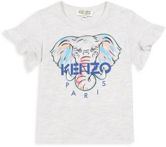 Kenzo Baby Girl's Ruffled Elephant-Graphic Logo T-Shirt