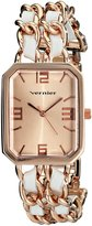 Vernier Women's VNR11180RG -Tone Watch with Faux-Leather and Chain-Link Bracelet