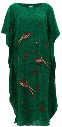 CHUFY Kaf Peacock And Celestial-embroidered Kaftan Dress - Green Print