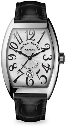 Franck Muller Cintree Curvex 55MM Stainless Steel Alligator Strap Watch