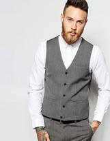 Asos Super Skinny Waistcoat In Salt And Pepper