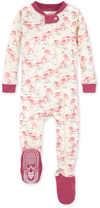 Burt's Bees Wild Horses Organic Baby Zip Front Snug Fit Footed Pajamas