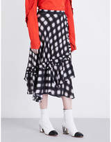 Preen Line Dixie ruffled checked crepe skirt