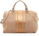 Neiman Marcus Faux-Suede Striped Panel Weekender Bag, Taupe