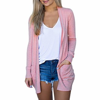 Aogoto Cardigan Sweater for Women Solid V-Neck Long Sleeve Coat Pockets Outerwear Pink