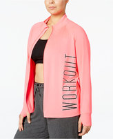 Material Girl Active Plus Size Shine Workout Jacket, Only at Macy's