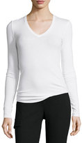 ATM Anthony Thomas Melillo Long-Sleeve Ribbed Jersey Tee, White